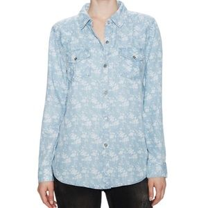 Rails Chambray White Floral Design Button Up Shirt